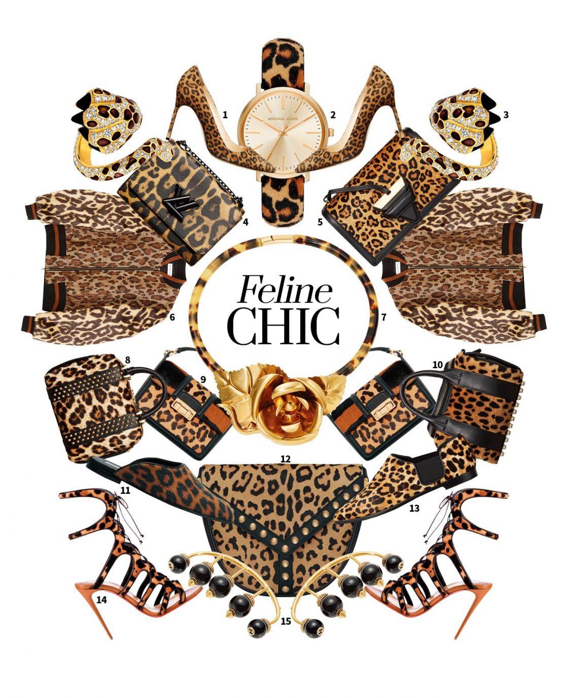 1 매끈한 라인의 스틸레토 힐은 가격 미정으로 Manolo Blahnik 2 골드 프레임과 송치 스트랩이 클래식한 시계는 34만원으로 Michael Kors 3 표범의 발이 손가락을 휘감는 형태의 미챠 반지는 가격 미정으로 Dior Fine Jewelry 4 로고를 이용한 잠금 장치가 독특한 체인 숄더백은 4백만원대로 Louis Vuitton 5 송치 소재의 스퀘어 백은 3백70만원으로 Loewe 6 은은한 메탈릭 소재와 퍼 소재로 화려함을 더한 보머 재킷은 1백만원대로 Dries Van Noten by My Boon 7 로맨틱한 장미 장식마저 관능적으로 보이게 하는 레오퍼드 패턴 초커는 가격 미정으로 Prada 8 스터드 디테일로 강렬함을 극대화한 토트백은 가격 미정으로 Cesare Paciotti 9 레오퍼드와 타이거 패턴이 더해진 클래식한 디자인의 숄더백은 2백97만원으로 Lanvin 10 퍼, 스터드, 볼드한 지퍼 등 다채로운 텍스처가 돋보이는 토트백은 1백만원대로 Alexander Wang by BOONTHESHOP 11 시크한 블로퍼는 50만원대로 Stella McCartney by Net-A-Porter 12 골드 컬러의 라운드 스터드가 고급스러운 크로스 백은 2백47만5천원으로 Saint Laurent 13 밴드 디테일의 플랫 슈즈는 가격 미정으로 Jimmy Choo 14 글래머러스한 컷아웃 디테일의 레이스업 슈즈는 가격 미정으로 Christian Louboutin 15 표범의 발톱이 연상되는 너클 반지는 74만5천원으로 Gucci 제품.