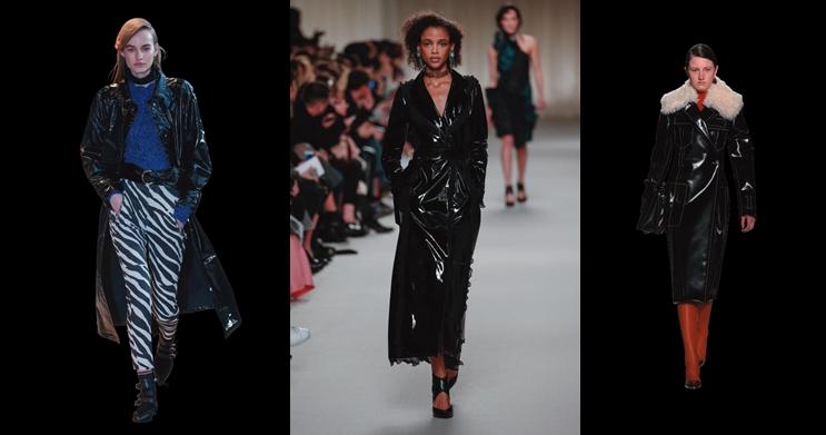 '센' 여자들의 옷이라는 고정관념은버릴 것. 올가을 가장 우아하면서 관능적인 아우터로 등극한 페이턴트 가죽 코트.