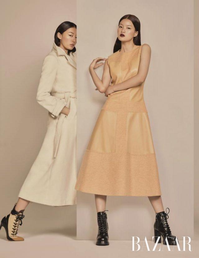 뉴트럴 컬러와 겨울 소재의 우아한 만남.(왼쪽부터) 시어링 소재의맥시 롱 코트는 4백69만원으로Rosie Assoulin by BOONTHESHOP,레이스업 앵클부츠는 2백42만5천원으로Louis Vuitton 제품.램스킨과 캐시미어 소재가 믹스된미니멀한 디자인의 드레스는 Hermès,청키한 워커 부츠는 1백만원대로Louis Vuitton 제품.
