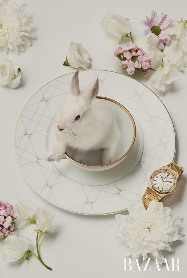 팔각형의 케이스가 특징인 옐로 골드 시계는4천9백만원대로 Audemars Piguet