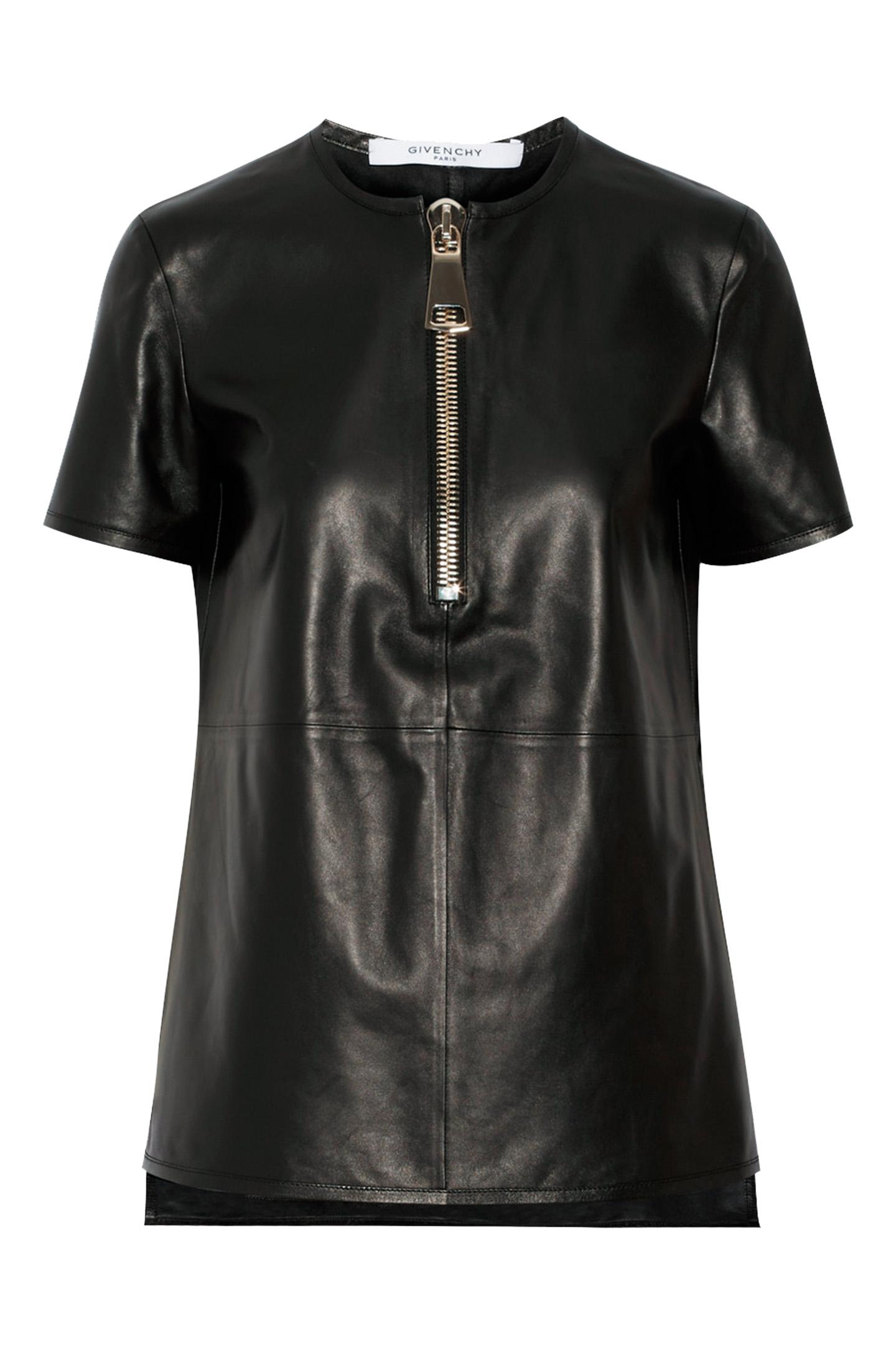 볼드한 지퍼 장식의 레더 블라우스는 가격 미정으로 Givenchy