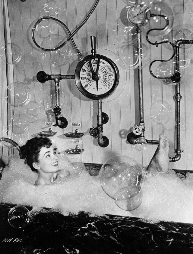 28th November 1949: Film star Ann Blyth in a bubble bath with contols, pipes and a barometer.A scene from the Universal-International comedy 'Free For All' which also stars Robert Cummings. (Photo by Keystone/Getty Images)