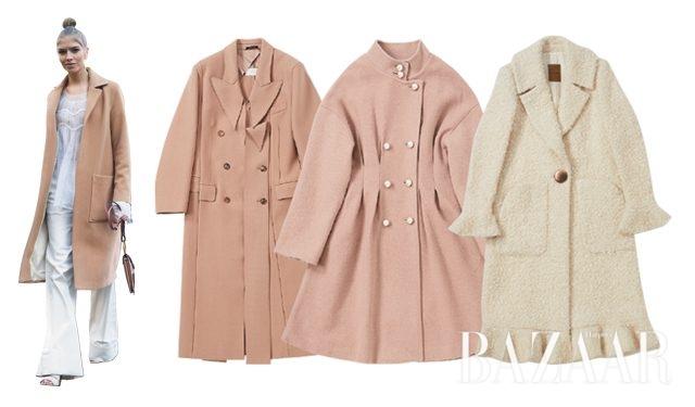 뉴트럴 컬러의 울 코트를 입은 엘레나 페르미노바. 제품은 왼쪽부터 독특한 커팅이 멋스러운 코트는 4백78만원으로 Maison Margiela by BOONTHESHOP, 허리 다트로 페미닌함을강조한 코트는 74만9천원으로 Romanchic, 밑단과 소매에 러플 장식이 더해진 코트는 가격 미정으로 Andy & Debb