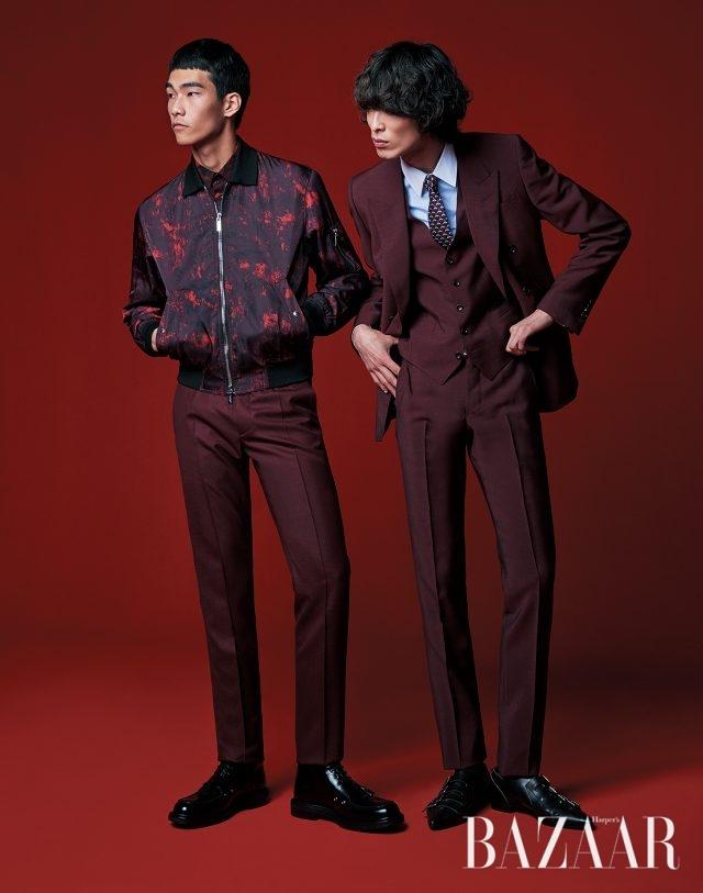 (왼쪽부터) 패턴 점퍼, 셔츠, 팬츠, 부츠는 모두 Dior Homme 제품. 수트는 4백85만원, 베스트는 1백48만원, 셔츠는 77만원, 넥타이는 가격 미정, 버클 슈즈는 1백22만원으로 모두 Gucci 제품.