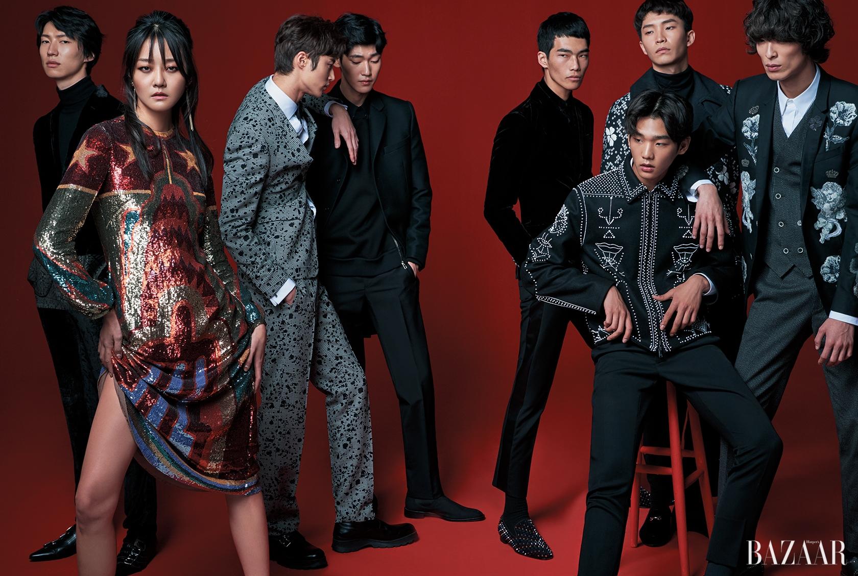 클래식한 실루엣에 담긴 장식적인 디테일. (왼쪽부터) 벨벳 수트는 3백27만원, 터틀넥은 1백22만원으로 모두 Etro, 버클 슈즈는 1백22만원으로 Gucci 제품. 시퀸 드레스는 2천6백만원대로 Valentino, 드롭 귀고리는 3만8천원으로 Mzuu 제품. 물감을 뿌린 듯한 패턴의 수트와 슈즈는 모두 Dior Homme, 셔츠, 보타이는 모두 Ralph Lauren 제품. 하프 코트, 집업 디테일의 스웨트셔츠, 이너로 매치한 셔츠, 팬츠, 첼시 부츠는 모두 Givenchy by Riccardo Tisci 제품. 벨벳 재킷, 벨벳 셔츠는 모두 Giorgio Armani, 턱시도 팬츠는 Alexander McQueen, 스터드 장식 로퍼는 Christian Louboutin 제품. 기하학적인 도트 패턴이 장식된 재킷은 5백80만원대, 팬츠는 가격 미정으로 모두 Valentino 제품. 도트와 플로럴 패턴 오버사이즈 코트는 Dsquared2, 터틀넥은 Andy & Debb, 팬츠는 Giorgio Armani, 벨벳 로퍼는 Giuseppe Zanotti 제품. 꽃과 천사가 장식된 재킷, 셔츠, 핀스트라이프 패턴 베스트, 팬츠는 모두 Dolce & Gabbana 제품.