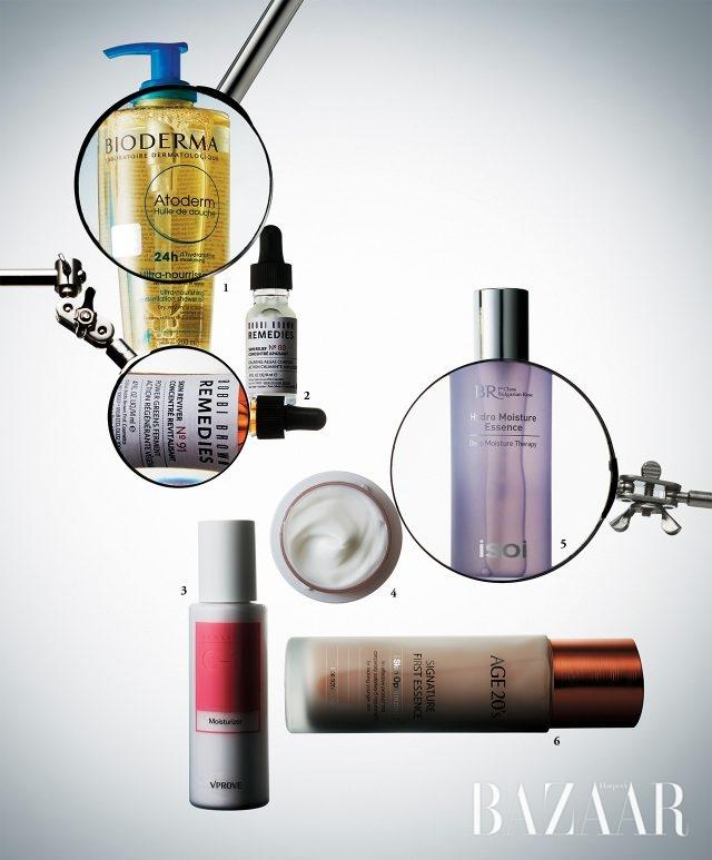 1. Bioderma 아토덤 월 드 두쉬 연약해진 피부의 장벽을 강화시키는 오일 클렌저로 온 가족이 사용 가능하다. 2만2천원, 2. Bobbi Brown 레미디 스킨 리바이버 세안 직후 2~3방울 발라주면 손상된 피부에 활력을 더해주는 항산화 트리트먼트. 6만5천원대, 3. V Prove 센서티브 씨텐 모이스춰라이저 민감성 피부를 위해 10개의 성분만 골라 담은 수딩 모이스춰라이저. 2만원, 4. Make P:rem 세이프 미 릴리프 모이스처 크림 12 안전한 12가지 성분만을 담은 안심 크림. 2만8천원, 5. Isoi 불가리안 로즈 하이드로 모이스춰 에센스 천연보습인자(NMF)가 피부 사이 사이를 촘촘하게 채워주는 순한 에센스는 이 계절을 위한 머스트 해브 아이템. 4만8천원, 6. Age20's 시그니처 퍼스트 에센스 특허 받은 탄력 성분 매트릭실 3000과 슈퍼 히알루론산, 슈퍼 발효 복합체가 어우러져 피부 컨디션을 끌어올려준다. 4만원