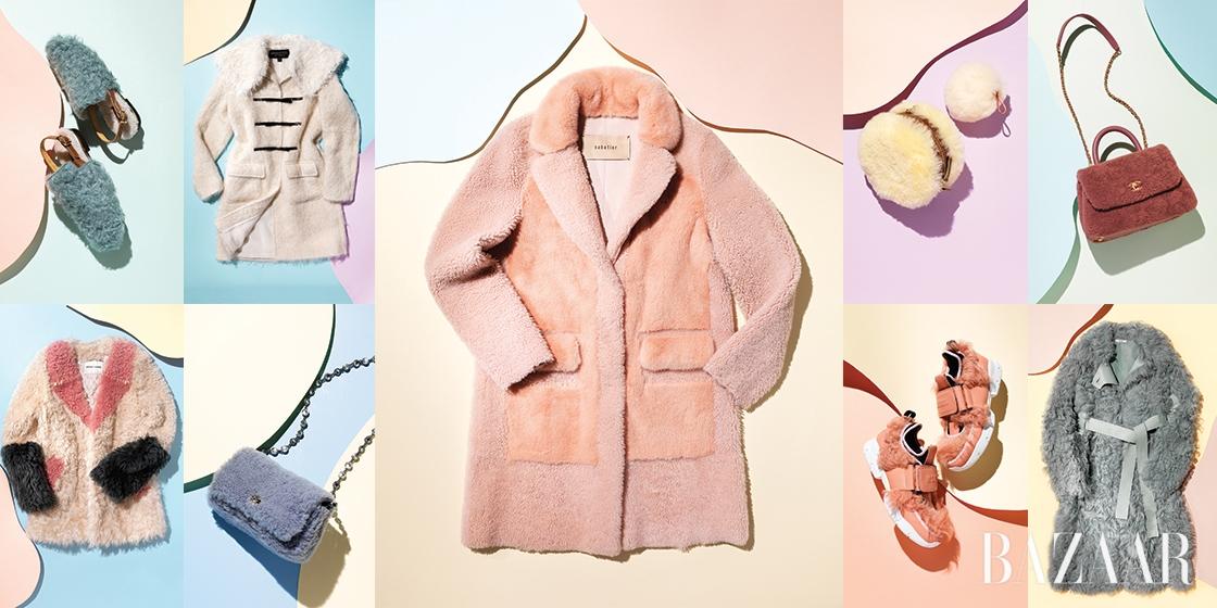 달콤한 마카롱 컬러의 양털 아이템으로 스타일에 로맨틱함을 주입하라.