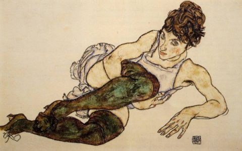 Reclining Woman With Green Stockings Aka Adele Harms, 1917