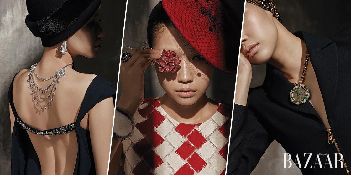 모자와 보석으로 드라마틱하게 완성한 여인의 초상.