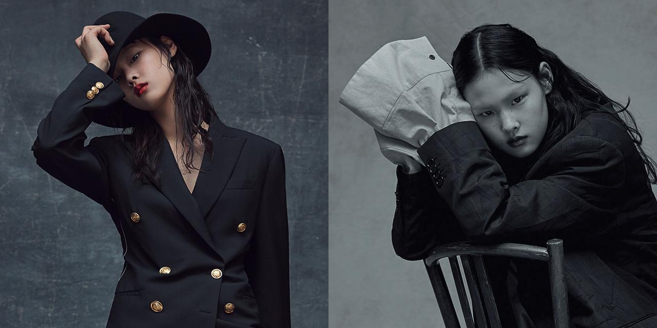 각진 어깨의 재킷과 낙낙한 팬츠, 자유분방하게 풀어 헤친 실크 셔츠.... 1980년대 향수가 짙게 밴 오버사이즈 수트 룩을 입은 앳된 소녀의 자화상.