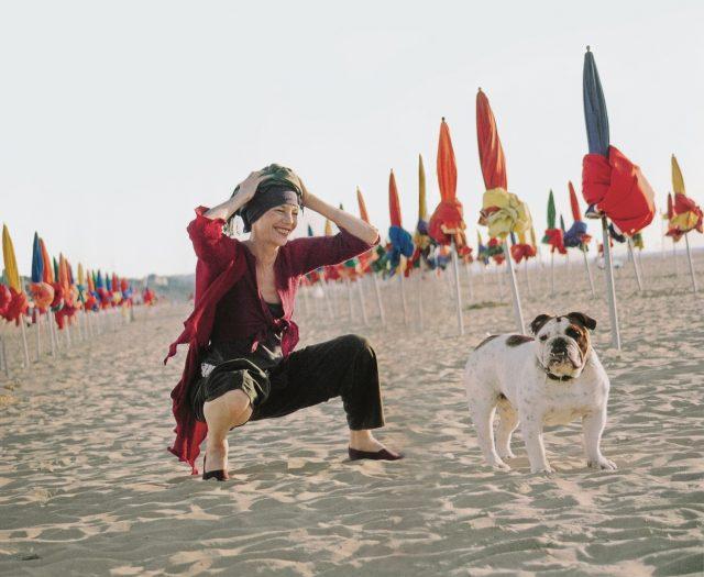 Jane Birkin at Deauville with Dora 2002