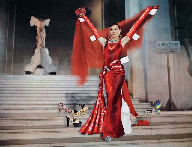 드레스와 장갑은 Moschino Couture, 클러치는 Judith Leiber Couture, 귀고리는 Le Vian, 슈즈는 Jimmy Choo, 계단에 놓인 슈즈는 Gucci, Dolce & Gabbana 제품.