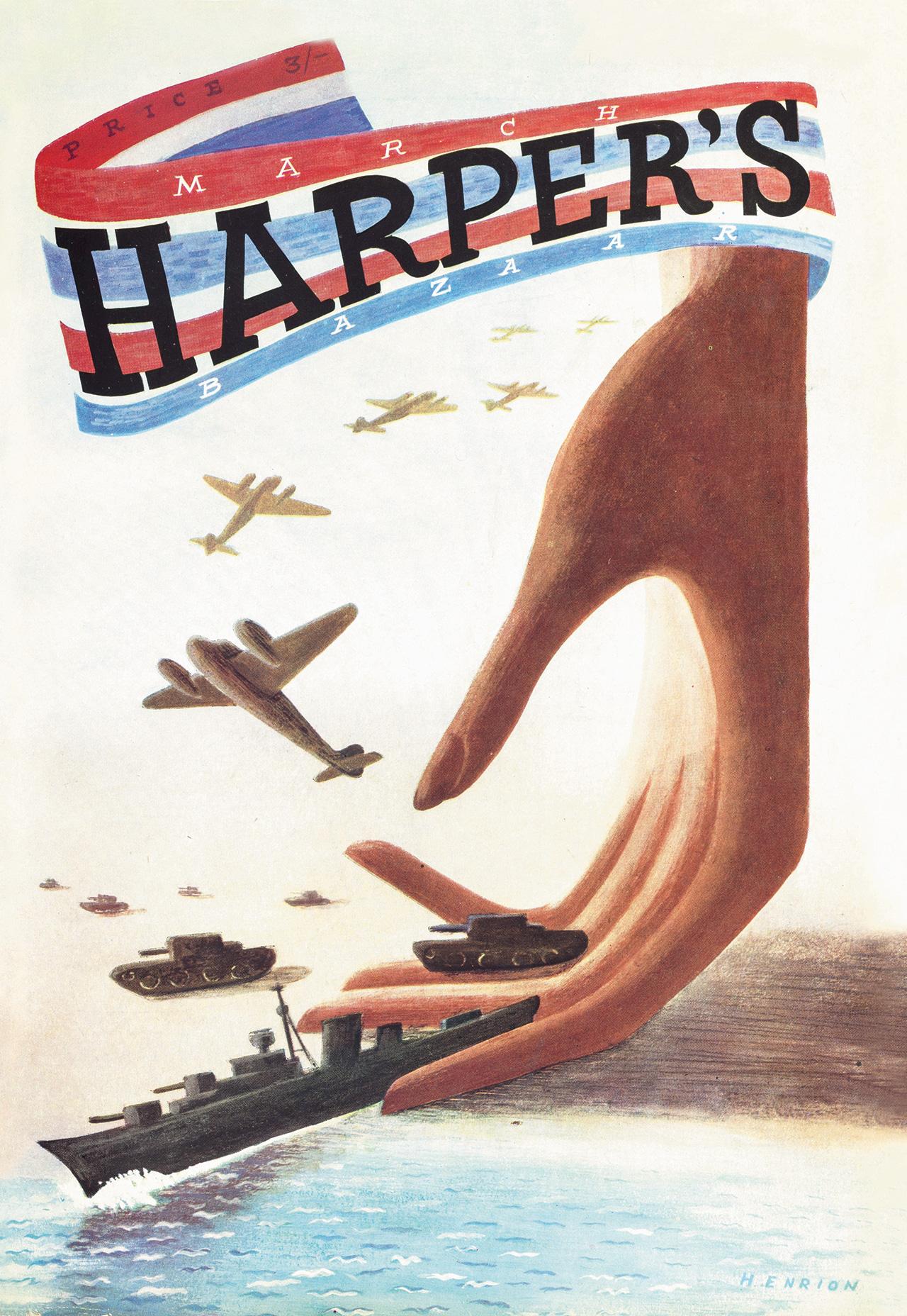1940년대 제2차 세계대전이 한창이던 시기에 발간된 <바자> 커버
