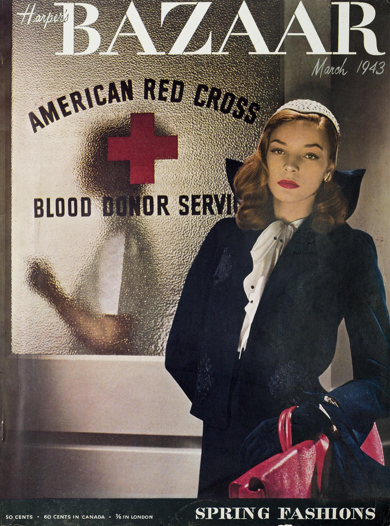 로렌 바콜이 등장한 1943년 3월 커버. 루이즈 달-울프가 촬영했다.