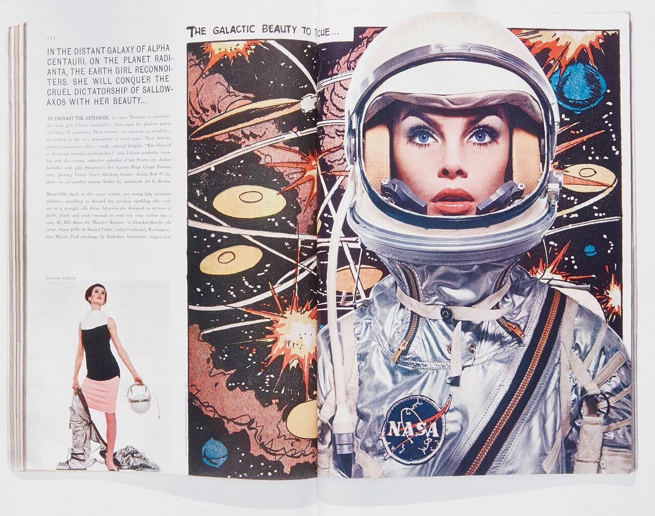 1963년 9월호 커버. 리처드 애버던이 나사 우주복을 입은 진 시림튼을 찍은 60년대의 아이코닉한 화보