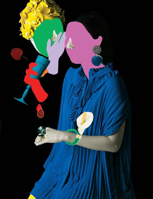 플라워 아플리케 장식의 모자는 90만원대로 Miu Miu, 유리잔에 컬러를 입히는 과정을 수공업으로 제작한 '터키 블루 샴페인 잔'은 8만원으로 Watts LONDON by Lonpanew, 크리스털과 블루 컬러가 조화로운 동그란 드롭 귀고리, 꽃을 모티프로 한 볼드한 반지는 모두 Marni, 원석을 반으로 쪼갠 듯한 텍스처의 브로치는 Givenchy by Riccardo Tisci, 플리츠 블라우스는 2백25만5천원으로 Balenciaga, 백합을 그대로 묘사한 뱅글은 52만원으로 Loewe 제품.