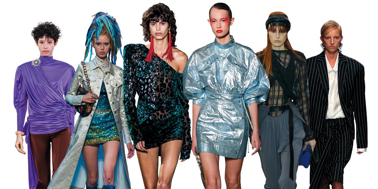 과장된 어깨의 파워 수트와 글리터링한 소재의 미니 드레스, 반짝이는 디스코 부츠... 가장 풍요롭고 눈부셨던 패션 황금기, 1980년대가 화려하게 부활했다.