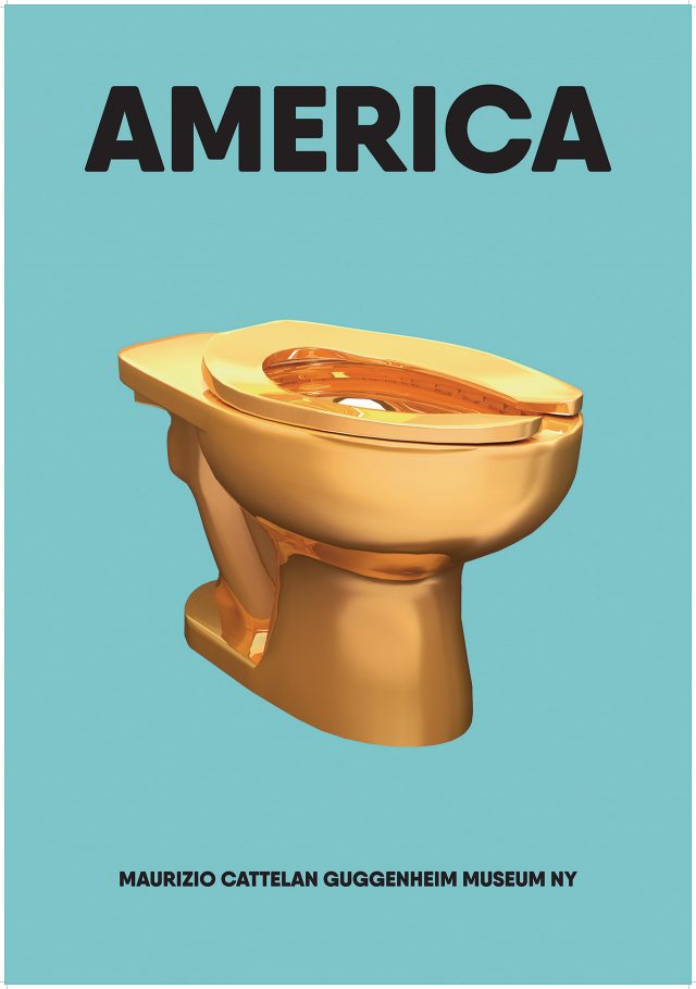뉴욕 구겐하임 미술관 화장실에 설치된'America', 2016