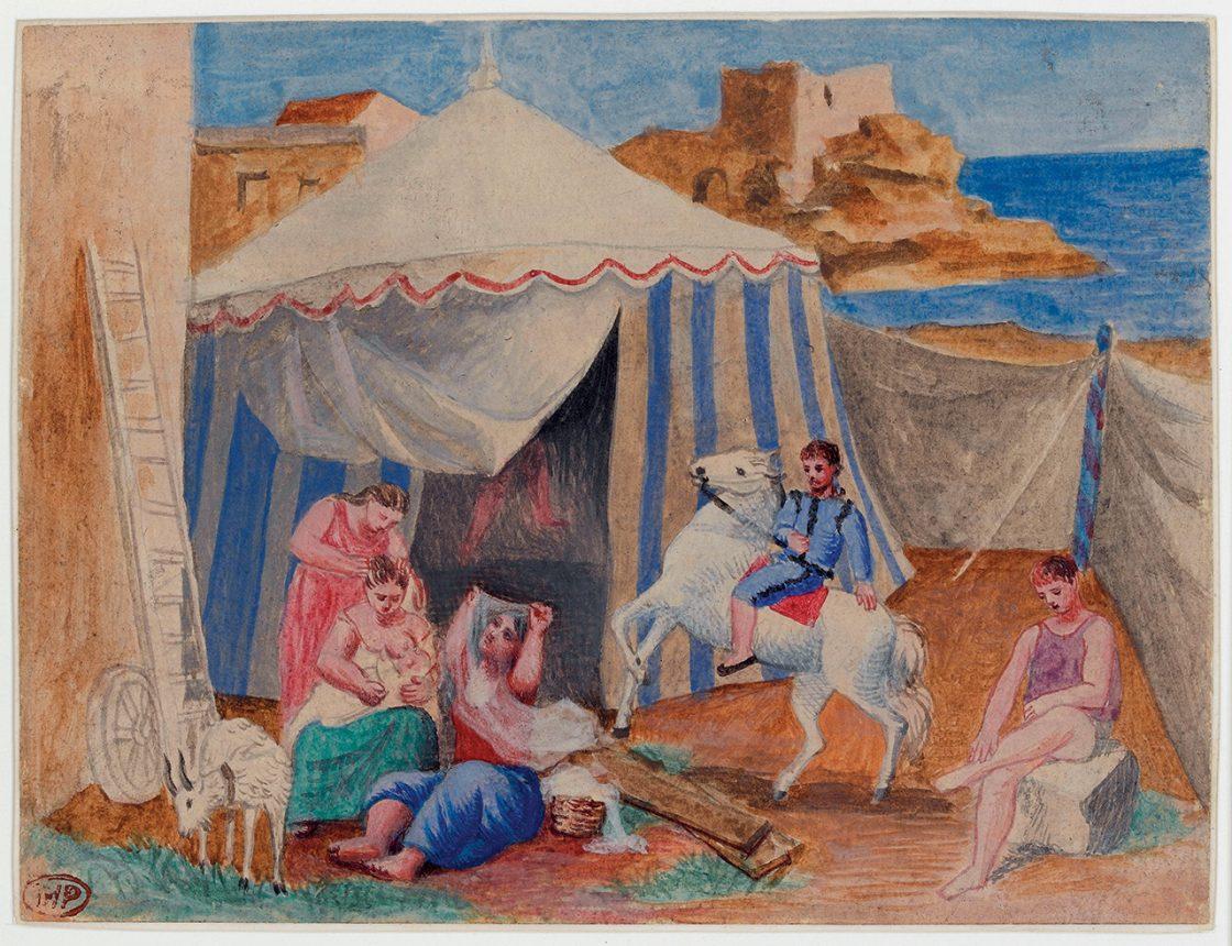 파블로 피카소, '장터의 서커스(Cirque Forain)', 1922년 12월, 제도용지에 구아슈, ©Succession Picasso, 2017Photo: ©RMN-Grand Palais (Musée national Picasso-Paris) / Thierry Le Mage