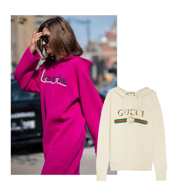 하우스 로고가 포인트로 가미된 후드 티셔츠는 Gucci