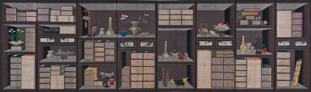 작자 미상, '궁중책가도', 종이에 채색, 363.8×110.8cm