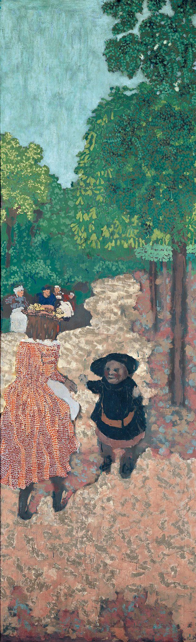 에두아르 뷔야르(Edouard Vuillard, 1868-1940), '첫 발걸음 – 공원의 7번째 패널 (Les Premiers Pas - 7e Panneau des Jardins Publics)', 1894, 캔버스에 템페라화, 213.4×68.5cm, ©droit réservés