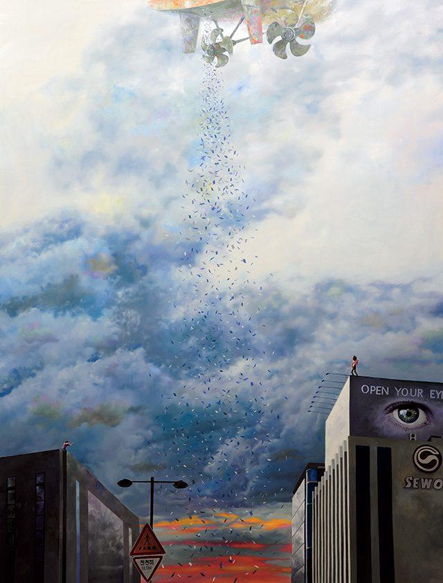 '혁명의 밤-삐라를 뿌려라' 2014, 캔버스에 유채, 145.5×112.1cm