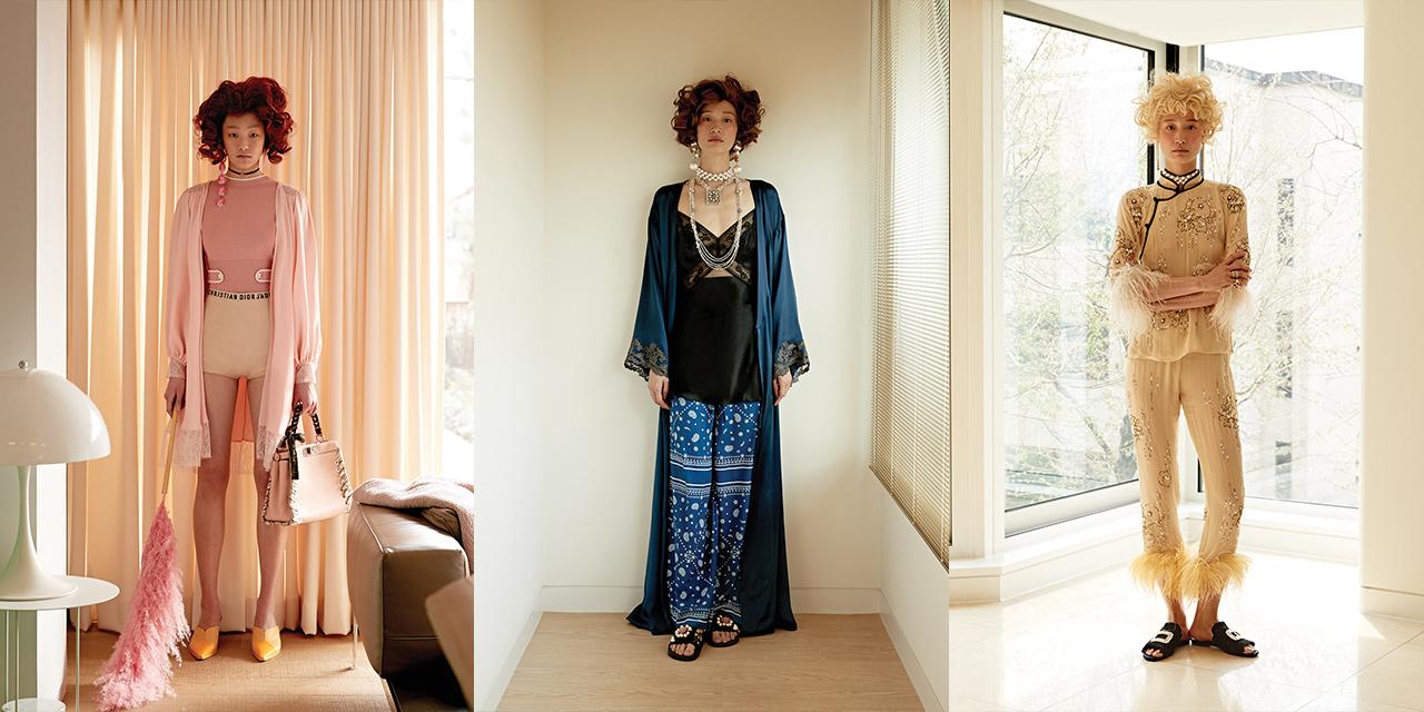 침실 밖으로 나온 슬립 웨어로 한껏 드레스업한 그녀들의 오후.