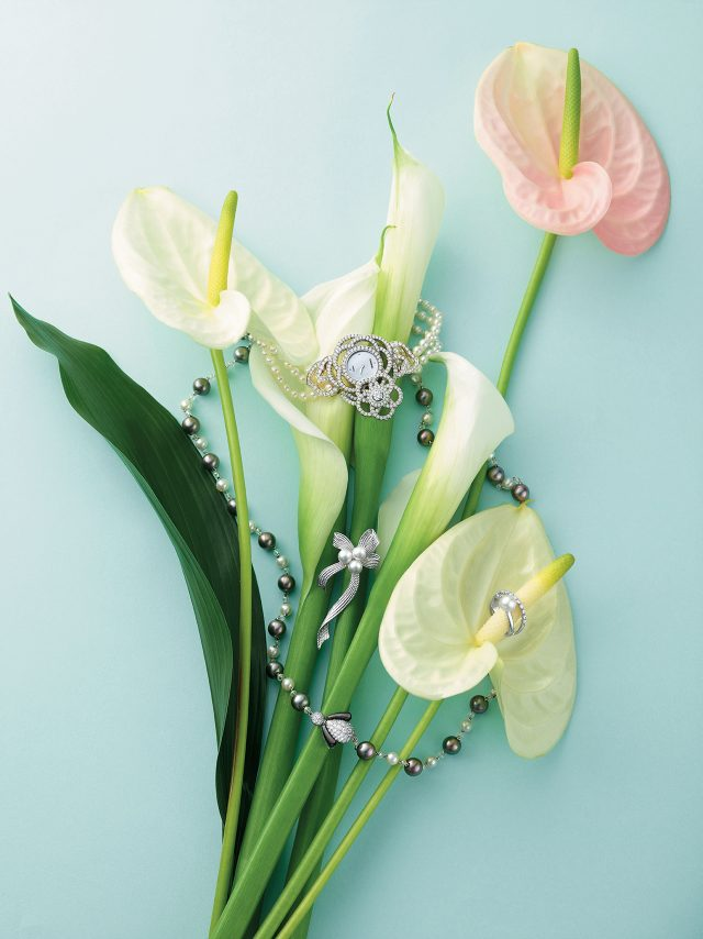 089 (위부터) 진주와 다이아몬드로 이루어진 '까멜리아 주얼리' 시계는 가격 미정으로 Chanel Fine Jewelry, 화이트 골드, 진주 소재와 벌 모티프의 다이아몬드가 세팅된 '비 마이 러브 컬렉션' 목걸이는 가격 미정으로 Chaumet, 리본을 모티프로 한 브로치는 가격 미정, 다이아몬드와 진주가 조화롭게 어우러진 반지는 3백50만원대로 모두 Tasaki 제품.