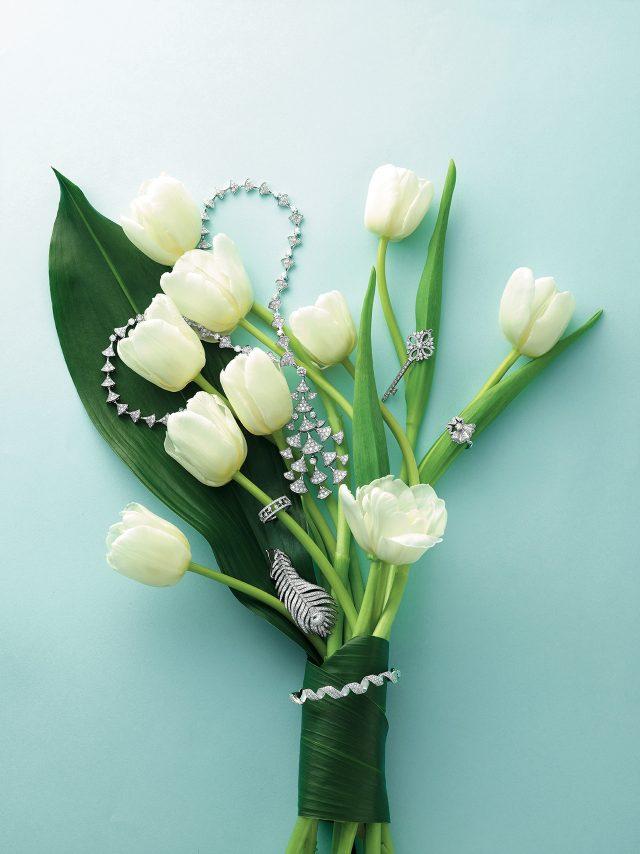 (위부터 시계 방향으로) 화이트 골드에 다아이몬드가 세팅된 '디바스 드림' 목걸이는 Bulgari, 섬세한 다이아몬드가 더해진 '빅토리아' 키 펜던트는 Tiffany & Co., 드레스의 러플에서 영감을 받은 '아쉬 디올 컬렉션'의 '코코뜨' 반지, 꽃 묶음을 감싸고 있는 '디올라마' 팔찌는 모두 Dior Fine Jewelry, 다이아몬드 장식의 깃털 모티프 '플륌 드 펑' 귀고리는 Boucheron, 이슬이 맺힌 듯한 다이아몬드 세팅이 포인트인 '듀 드롭 컬렉션' 반지는 De Beers 제품. 모두 가격 미정.