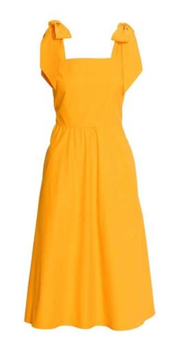 어깨에 리본 디테일로 사랑스러움을 더한 옐로 원피스. H&M, 가격 미정