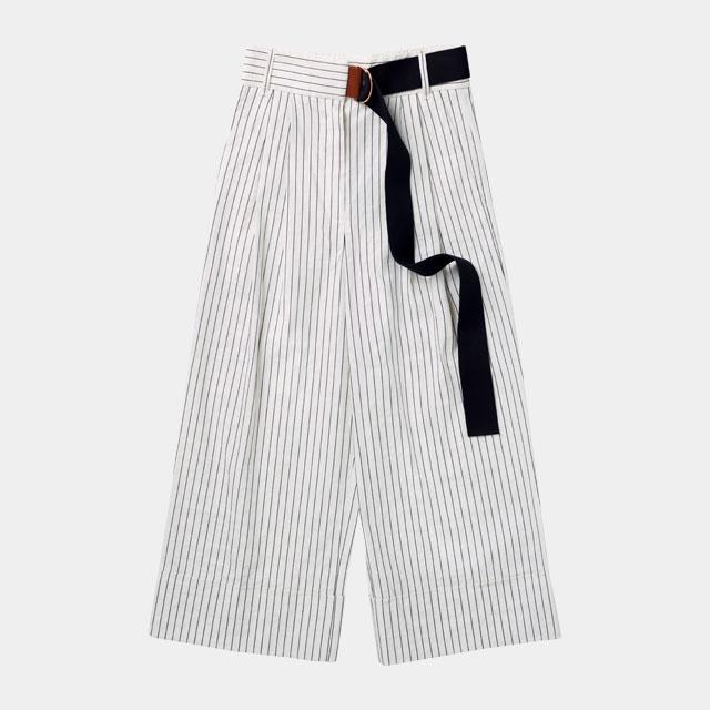 마린풍의 스트라이프 패턴 와이드 팬츠는 89만원으로 Tibi by Mue