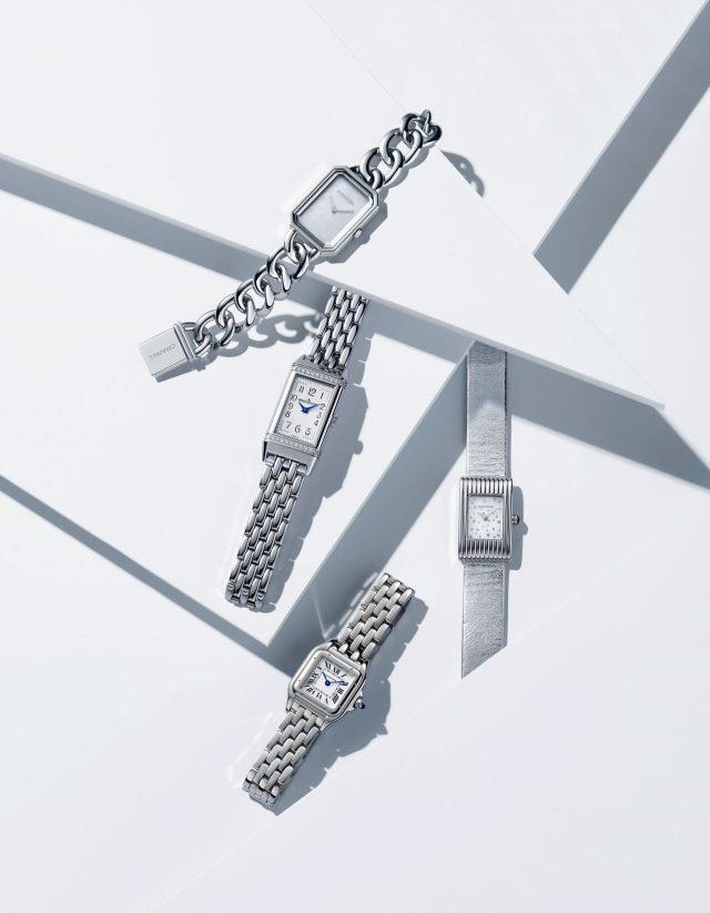 (위에서부터) 체인 스트랩이 더해진 '프리미에르 체인 시계'는 가격 미정으로 Chanel, 프레임에 다이아몬드가 촘촘히 세팅된 '리베르소 원 스틸' 시계는 8백30만원으로 Jaeger-Lecoultre, 스트랩 교체가 가능한 리미티드 에디션 '이베르 임페리얼' 시계는 6백만원대로 Boucheron, 모던한 정사각 프레임의 '팬더 드 까르띠에 워치'는 4백80만원으로 Cartier 제품.