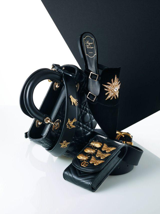 탈부착이 가능해 원하는 위치에 세팅할 수 있는 골드 배지 스트랩 디테일의 토트백은 가격 미정으로 Dior, 크리스털이 세팅된 별 장식의 슬라이드는 1백50만원대로 Roger Vivier, 곤충 장식이 더해진 벨트 백은 1백10만원으로 Gucci 제품.