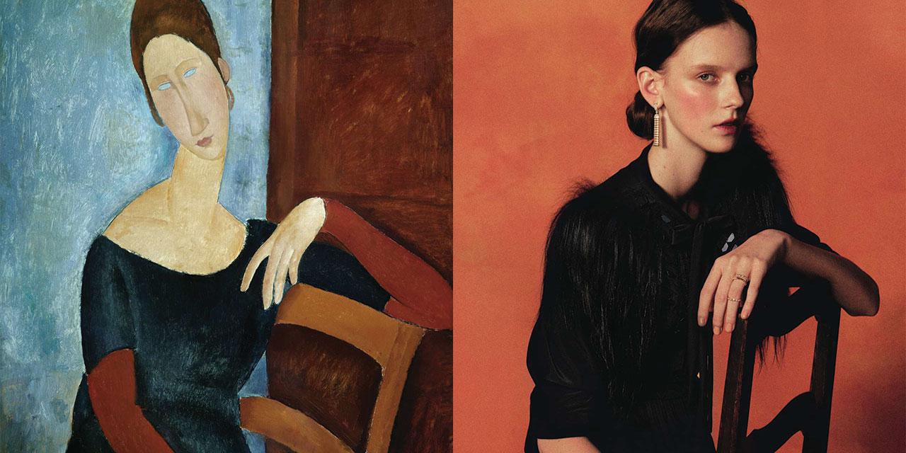모딜리아니의 영원한 연인, 잔 에뷔테른(Jeanne Hebuterne)이 그림 속에서 빠져나왔다. 안타깝지만 아름다운 러브스토리의 주인공인 그녀는 사랑 앞에서 용감한 여성이자 자아가 또렷한 아티스트였다. 길고 아름다운 목선과 신비로운 눈동자, 슬픈 뉘앙스를 가진 그녀에게 골드 주얼리를 선물했다.