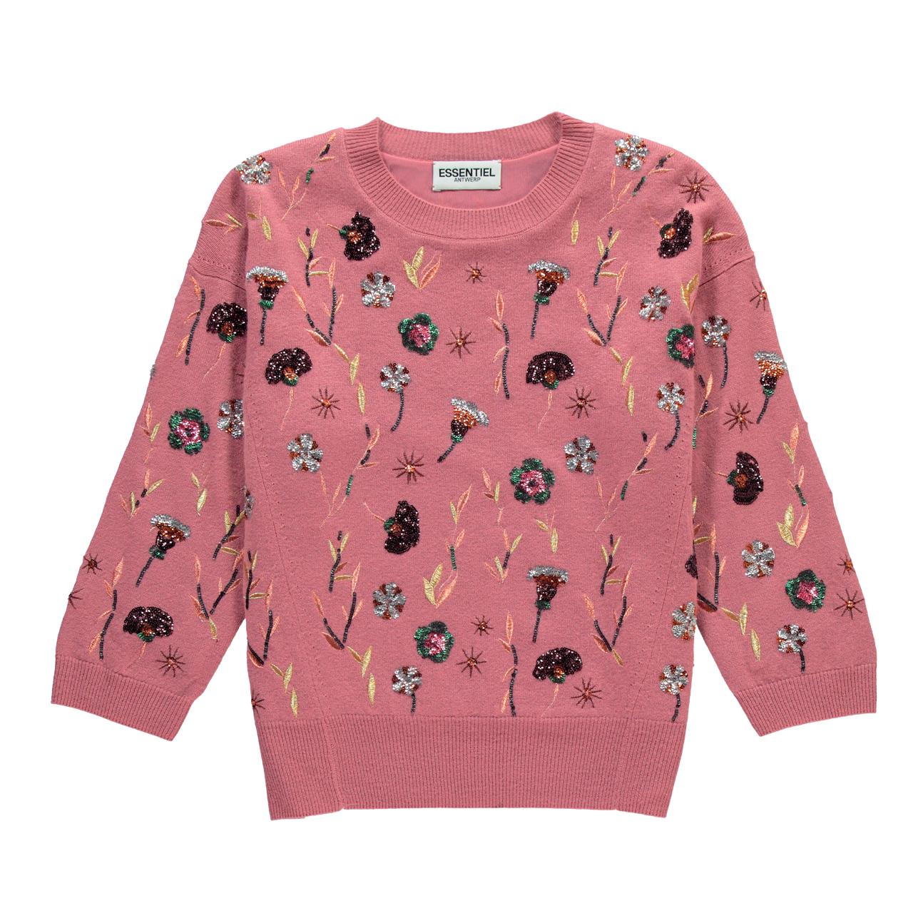 플라워 시퀸 디테일의 스웨터는 가격 미정으로 Essentiel