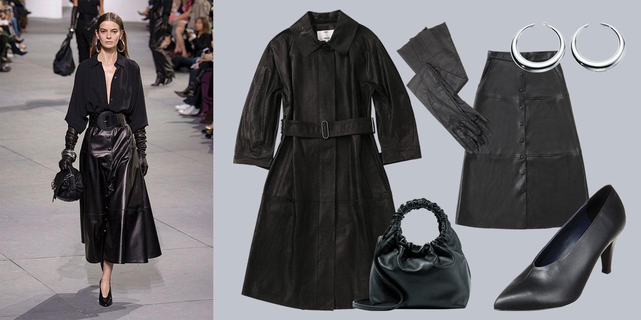 완벽한 테일러링의 코트와 블레이저, 캐시미어 스웨터, 화이트 셔츠, 리틀 블랙 드레스로 채워진 가을의 옷장에 클래식한 디자인의 블랙 레더 피스를 추가하라.