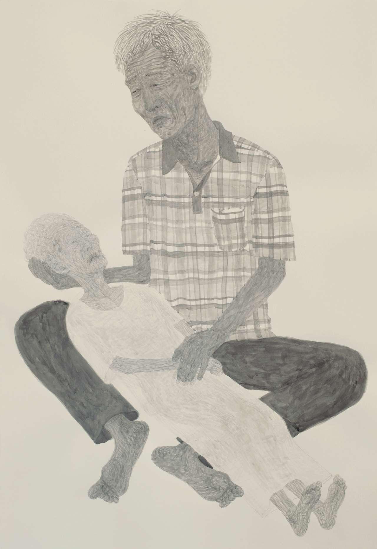 '늙은 아들과 더 늙은 엄마',종이에 아크릴릭,112×76cm, 2013,Courtesy of the artist and Kukje Gallery 이미지 제공: 국제 갤러리