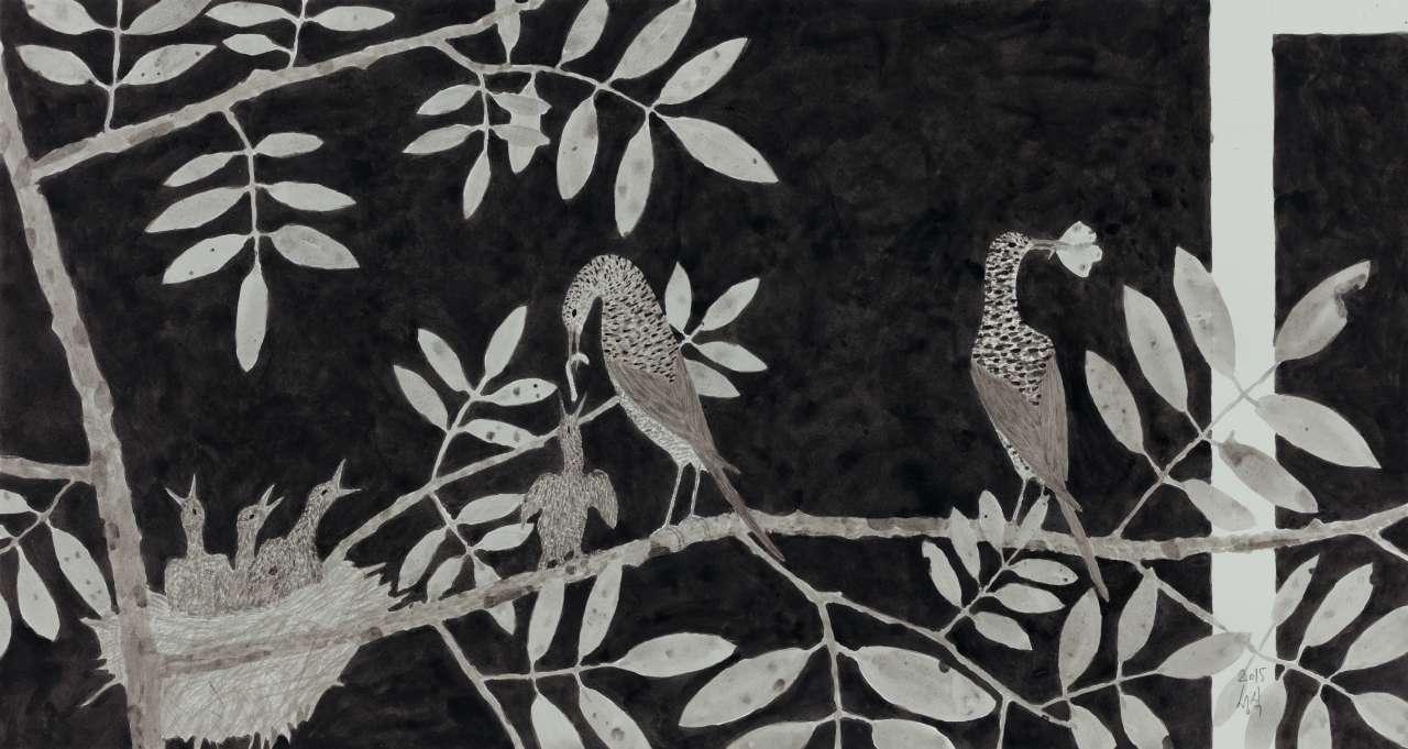 '도시와 새', 종이에 아크릴릭, 37×69.3cm, 2015,Courtesy of the artist and Kukje Gallery 이미지 제공: 국제 갤러리