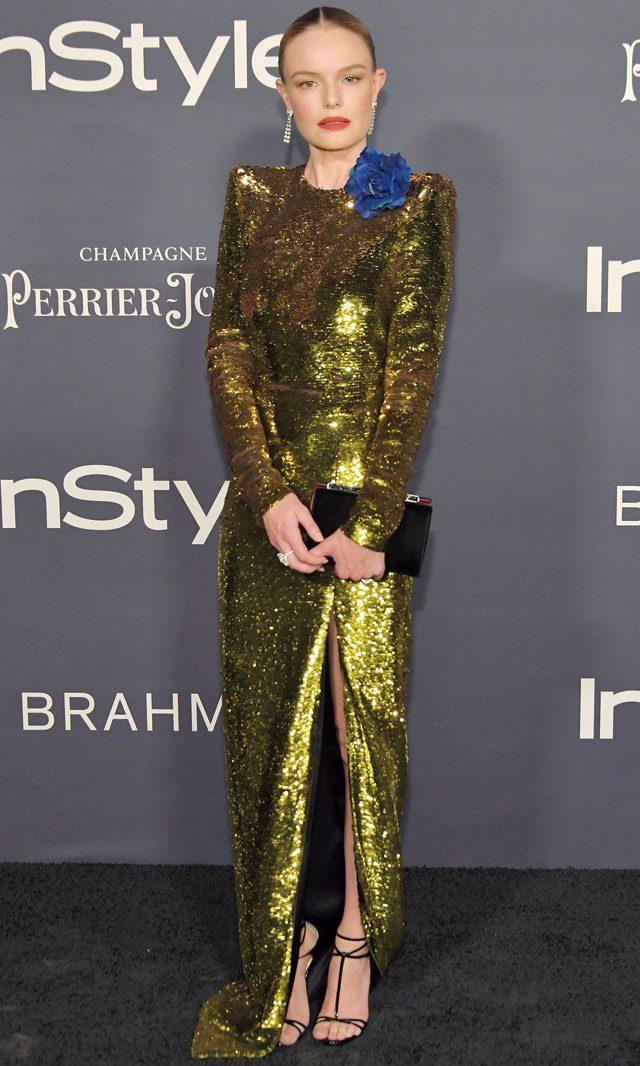 시선을 압도하는 알렉산드레 보티에 드레스로 화려한 이브닝 룩을 완성한 케이트 보스워스.