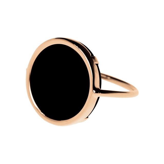 오닉스 원석의 로즈 골드 반지는 가격 미정으로 Ginette NY
