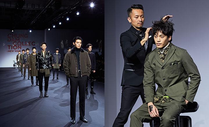 (왼쪽부터) 청담 컬렉션의 시작을 화려하게 장식한 컨템퍼러리 맨즈 쇼 컨템퍼러리 맨즈 쇼의 하이라이트인 타다시 하라다의 스타일링 퍼포먼스