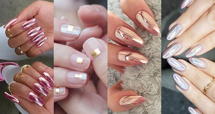 금속을 붙인 듯한 크롬 네일이 현재 트렌드라는 것을 보여주는 13개의 스타일
