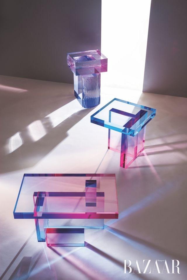 (왼쪽부터 시계 방향으로) 'Crystal Series'_Raw Side Edition 01, Table 01, Table 04, 2016, Material_ Acrylic