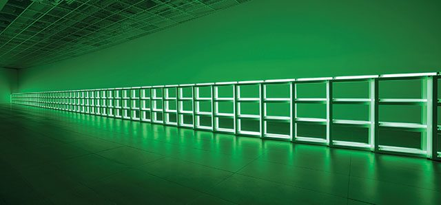 'Untitled(to you, Heiner, with admiration and affection)', 1973, Fluorescent light and metal fixtures, 121.9×121.9×7.6cm each of 58