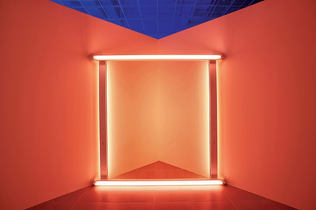 'Untitled(to Janet and Allen)', 1966, 71 Pink fluorescent light, 243.8×243.8×12.7cm
