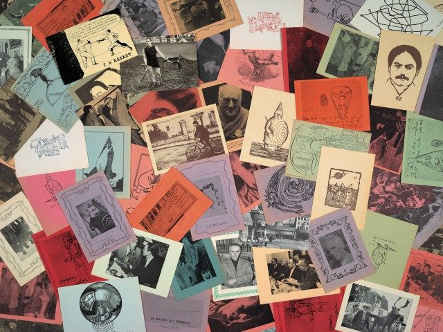 Postcards from Harald Szeemann's collection of 'pataphysics material.The Getty Research Institute