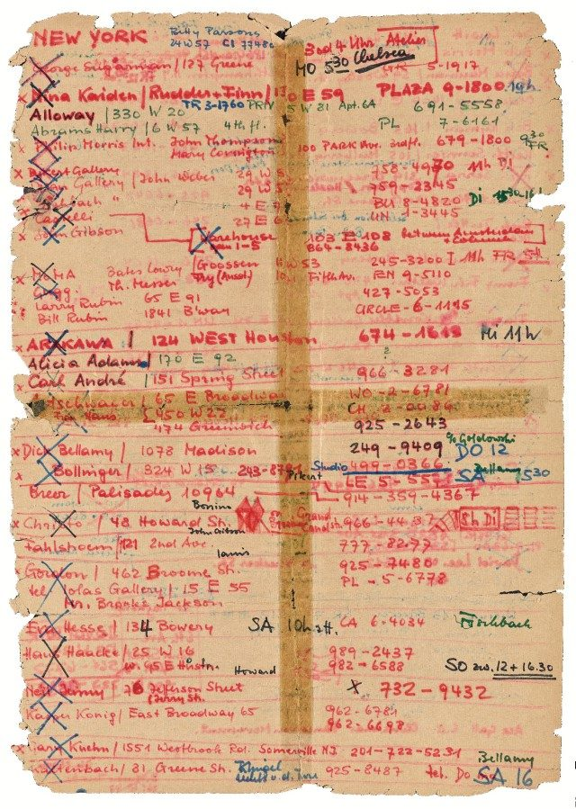 Front of Harald Szeemann's address list for his visit to New York, 1968.The Getty Research Institute