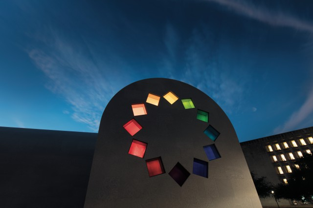 'Kelly', Austin, 2015(East façade), Artist-designed building with installation of colored glass windows, black and white marble panels, and redwood totem 60×73×26 ft. 4 in. ©Ellsworth Kelly Foundation Photo courtesy Blanton Museum of Art, The University of Texas at Austin