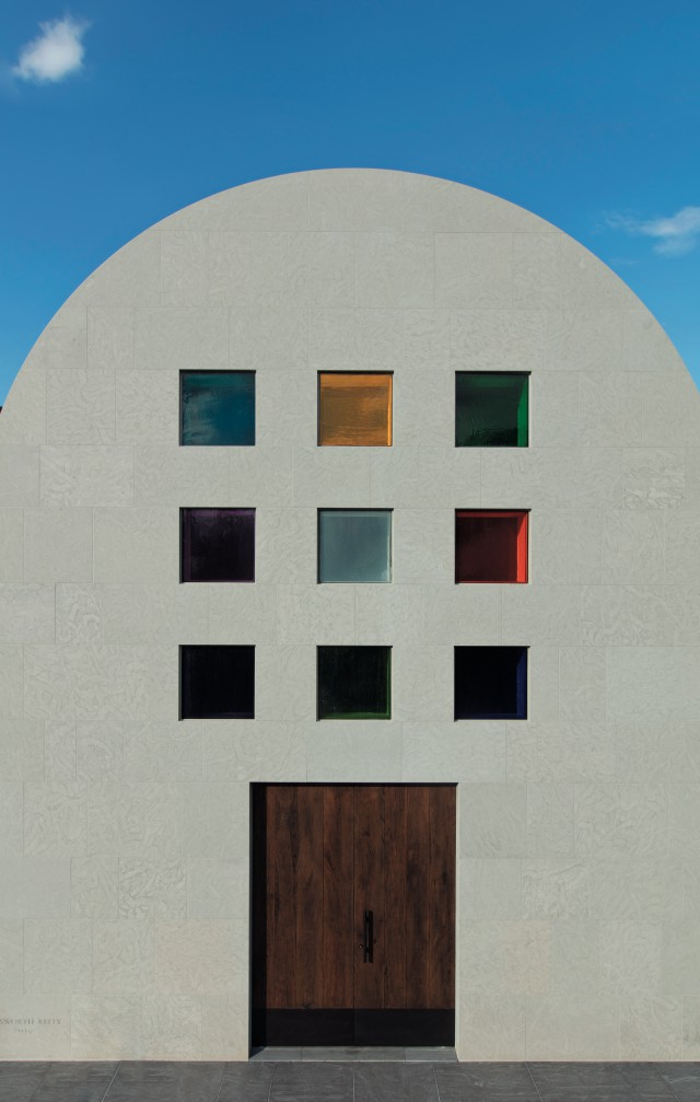 'Austin', 2015(South façade), Artist-designed building with installation of colored glass windows, black and white marble panels, and redwood totem, 60×73×26 ft. 4 in. ©Ellsworth Kelly Foundation, Photo courtesy Blanton Museum of Art, The University of Texas at Austin